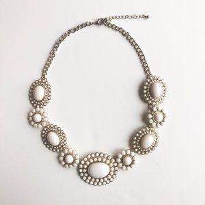 White Gemstone Statement Necklace